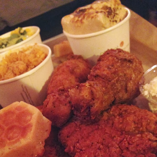 Honey butter fried chicken with sides