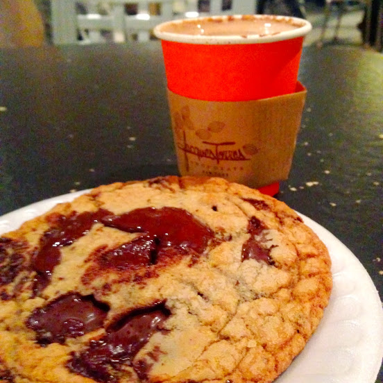 Warm chocolate chip cookie and wicked hot chocolate with ancho and chipotle