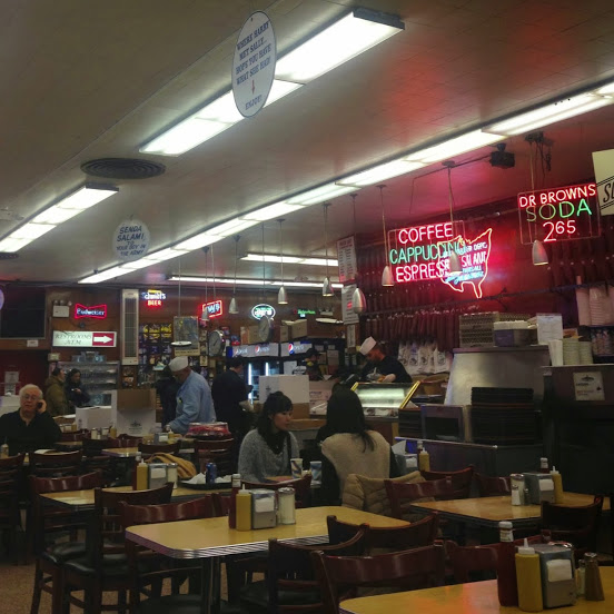 "Interior at the legendary Katz's deli, including the ""When Harry Met Sally"" sign"