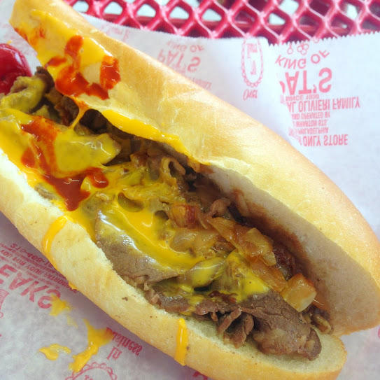 Philly cheese steak with onions and Cheez Whiz, Pat's