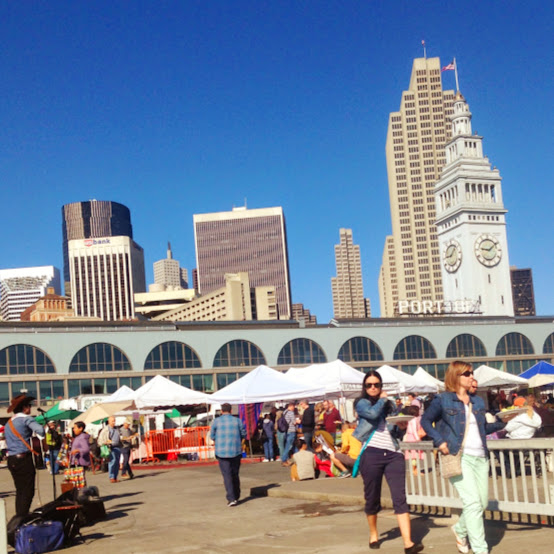 A view of the Ferry Building Farmers Market from the back