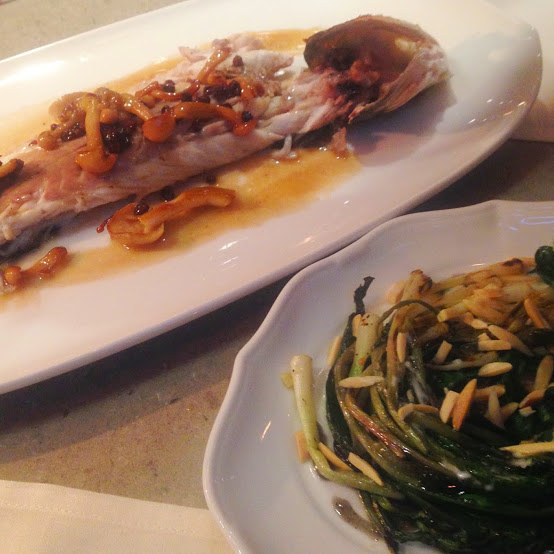 Salt-crusted branzino and grilled ramps, Nico Osteria