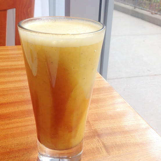 Mango, orange, and kiwi juice with honey, Meli Cafe