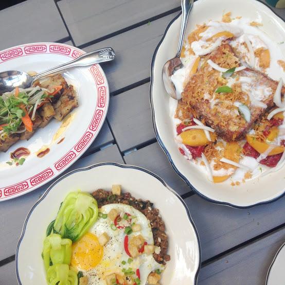 Hong Kong-style French toast, radish cake, minchi hash, Fat Rice