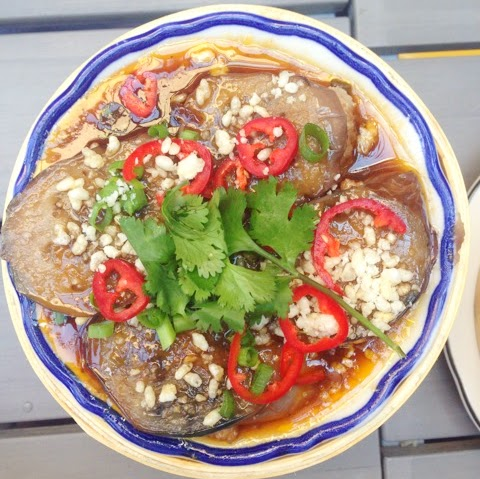 Sweet and sour stuffed eggplant, Fat Rice