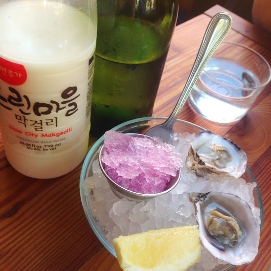 Makgeolli rice wine and oysters, Parachute