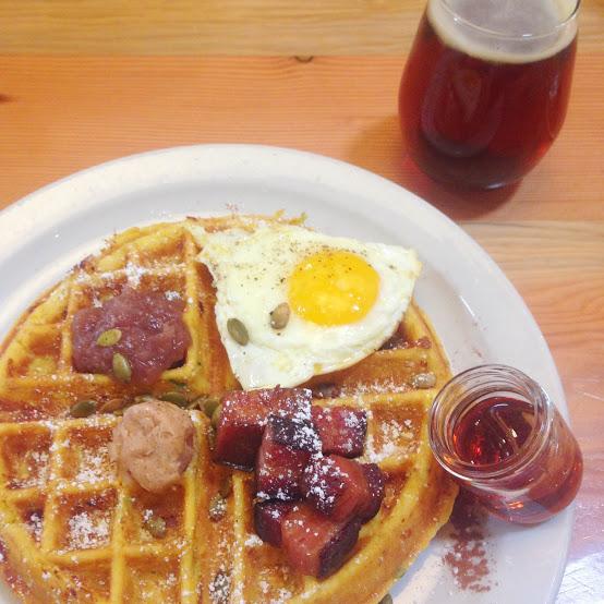 Savory waffle and sweet potato ale, Birchwood Cafe