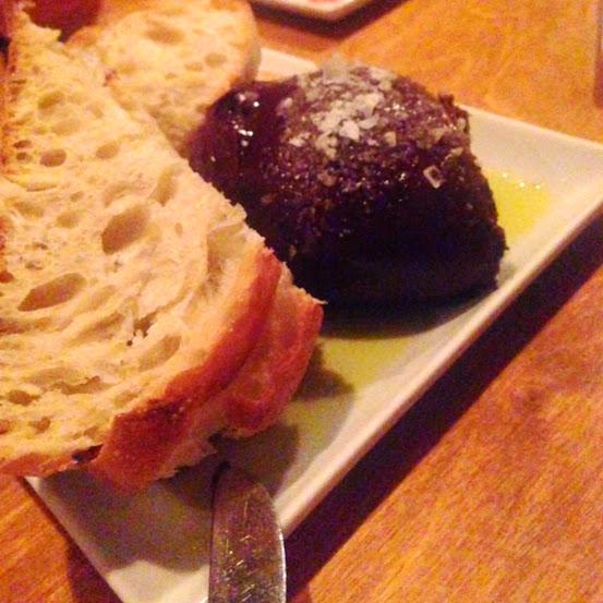Chocolate with olive oil, sea salt, and toast