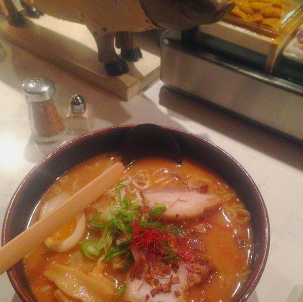 Spicy roasted garlic miso ramen, Wasabi Chicago