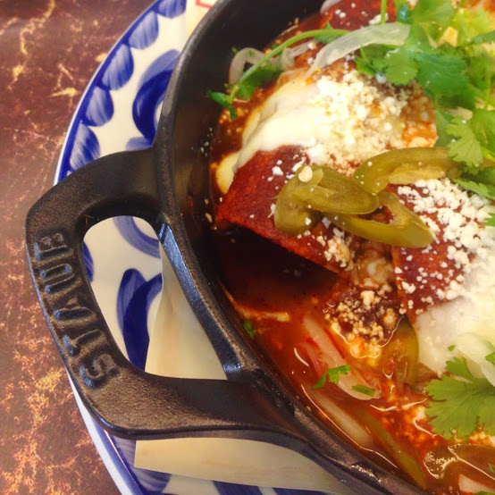 Red chile enchiladas, Dove's Luncheonette