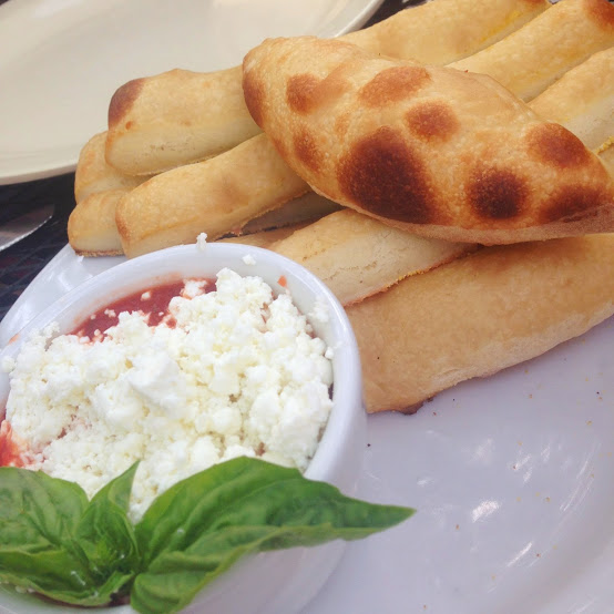 Breadsticks and goat cheese