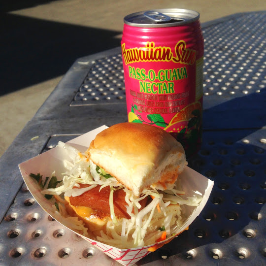 Spam slider and Pass-O Guava Nectar Hawaiian Sun drink from Marination Station