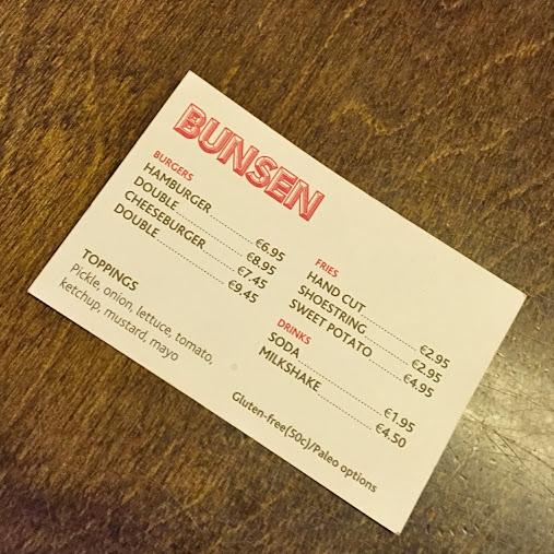 Business card menu, Bunsen