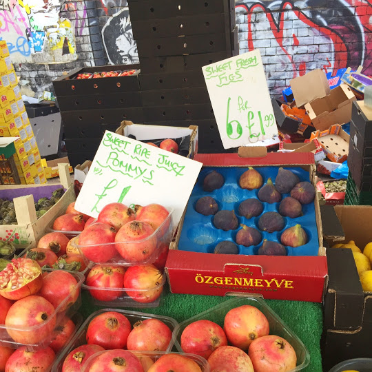 "Figs and ""pommys"" at Brick Lane Fruit Market"