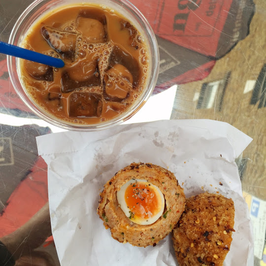 Chorizo scotch egg and Vietnamese iced coffee