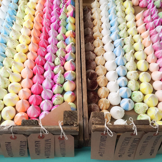 Rainbow of meringues, Meringue Girls at Broadway Market