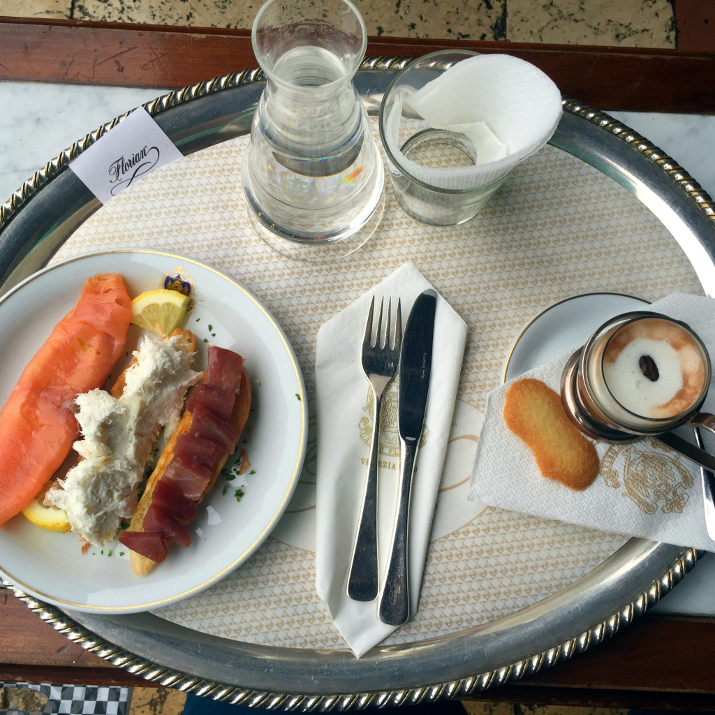 Coffee and trio of toasts, Caffe Florian