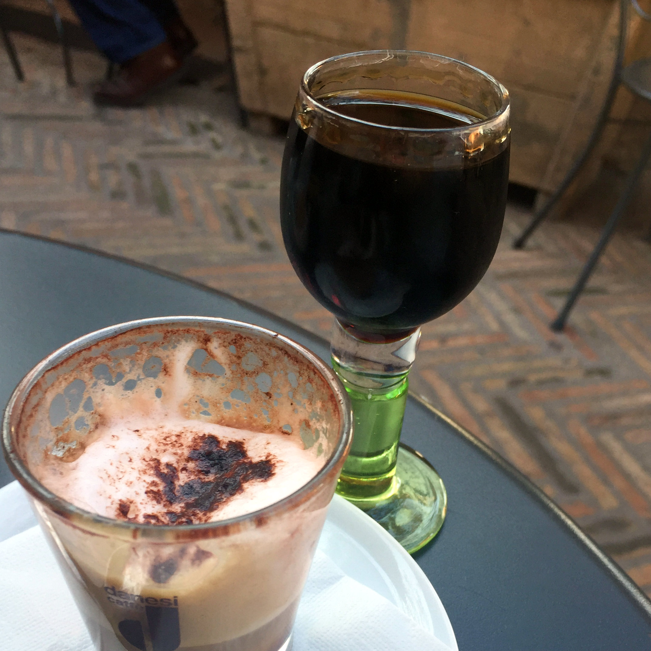 Espresso and Averna, cafe at Castle San Angelo