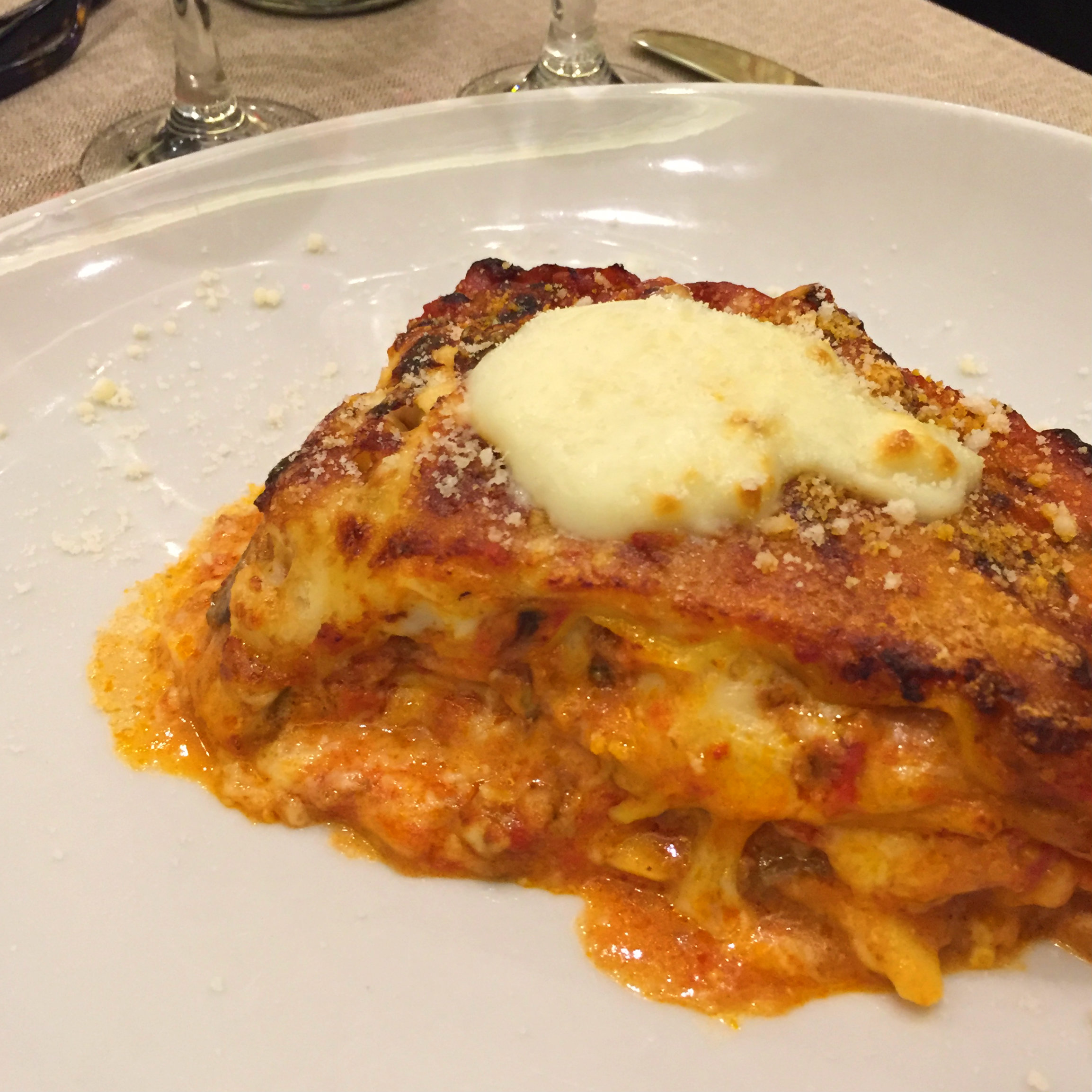 Wood-fired lasagna, La Tavernaccia