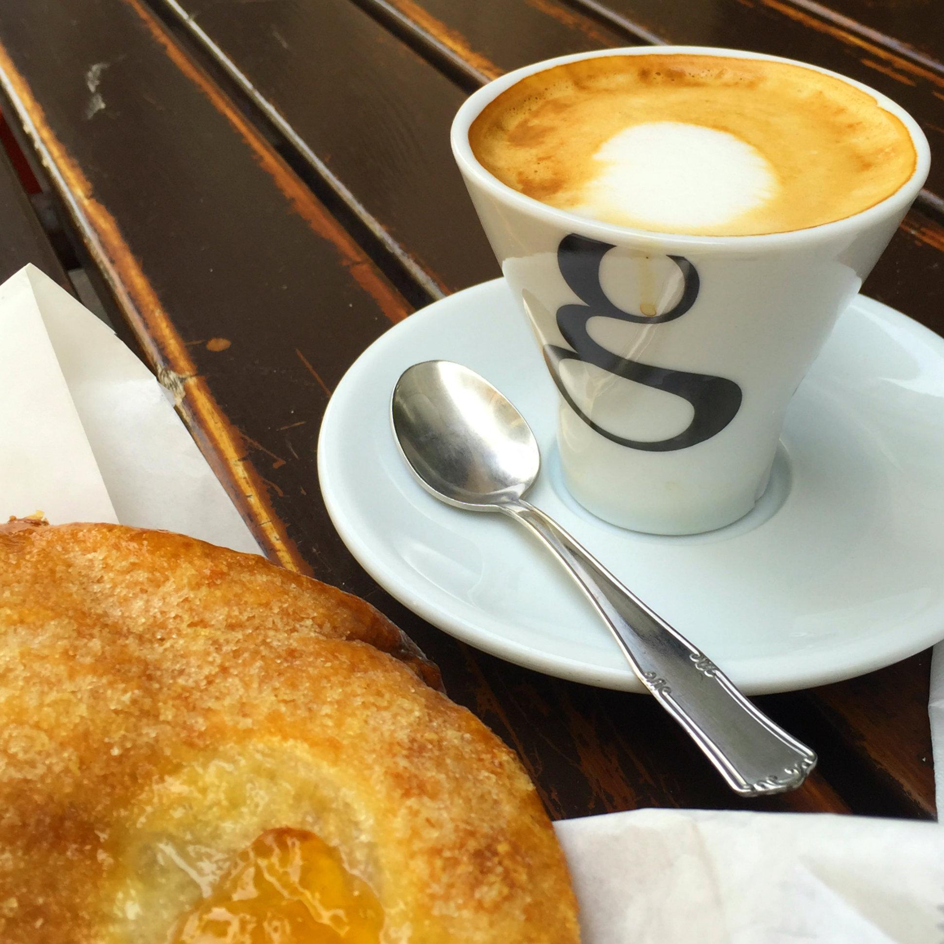Cappuccino and apricot pastry, La Pasticceria Siciliana