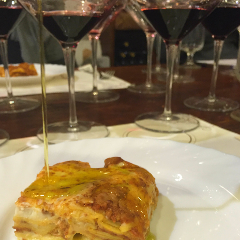 Lasagna with truffle-infused extra virgin olive oil at Tenuta Torciano