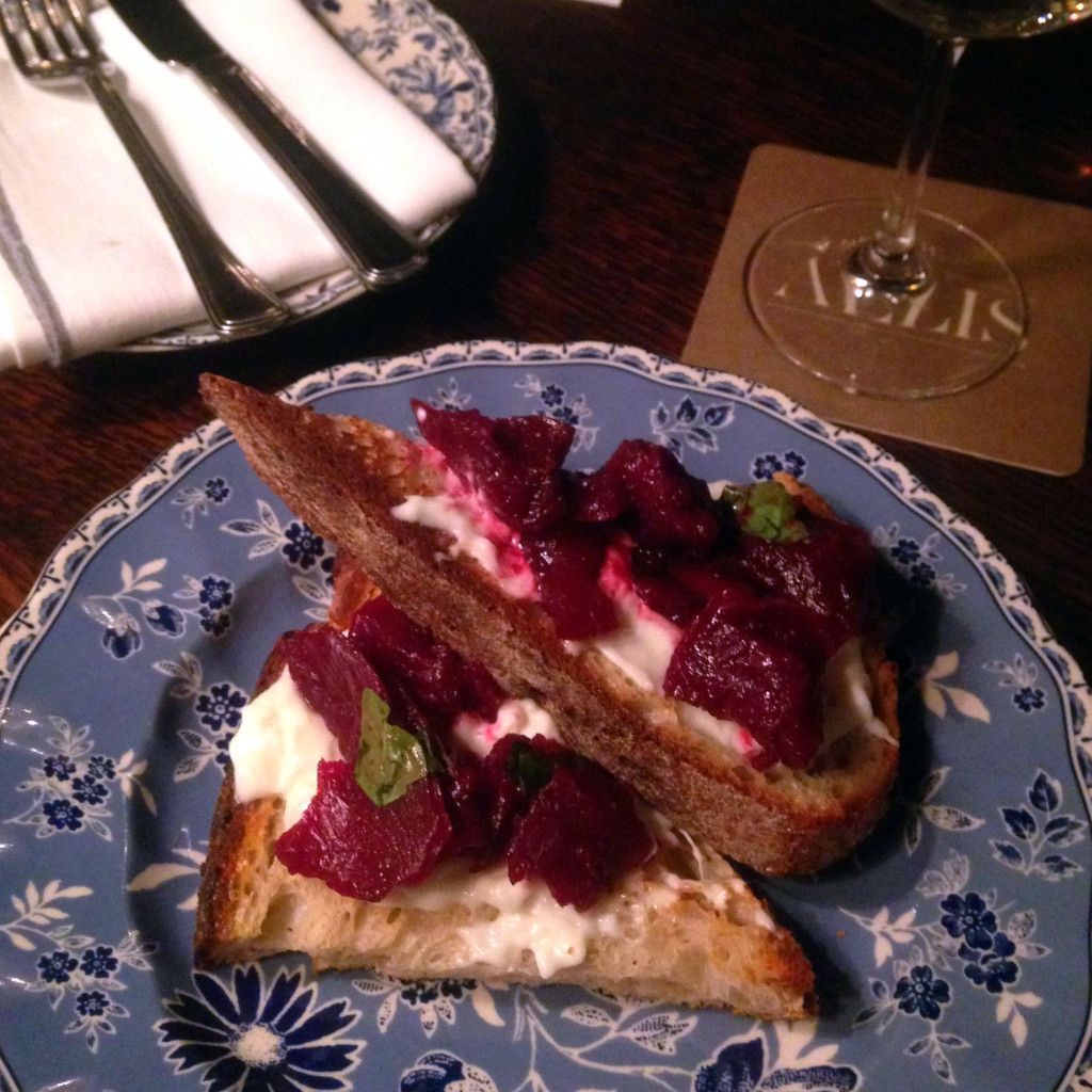 Beet and goat cheese toast, The Allis