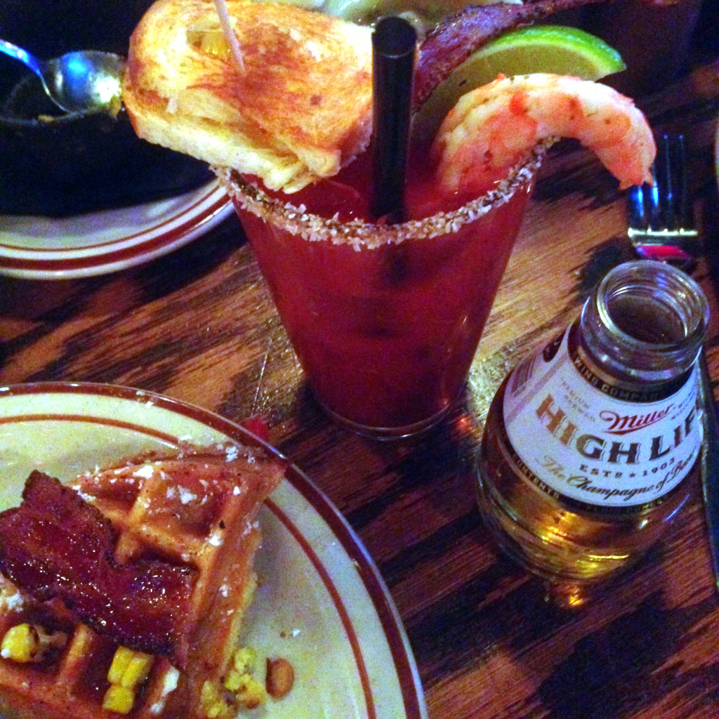 Bloody mary and bacon sweet corn waffle, Bub City