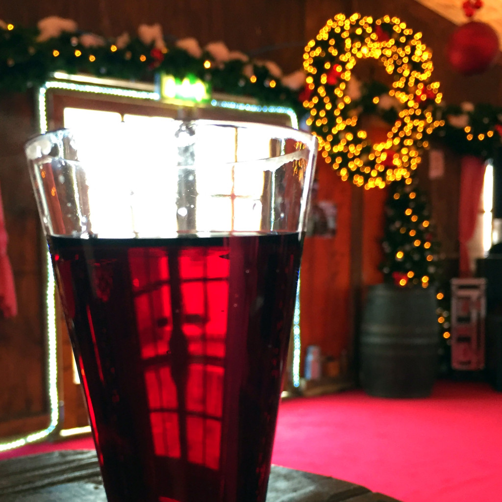 Mulled wine in a festive tent at the Galway Christmas Market