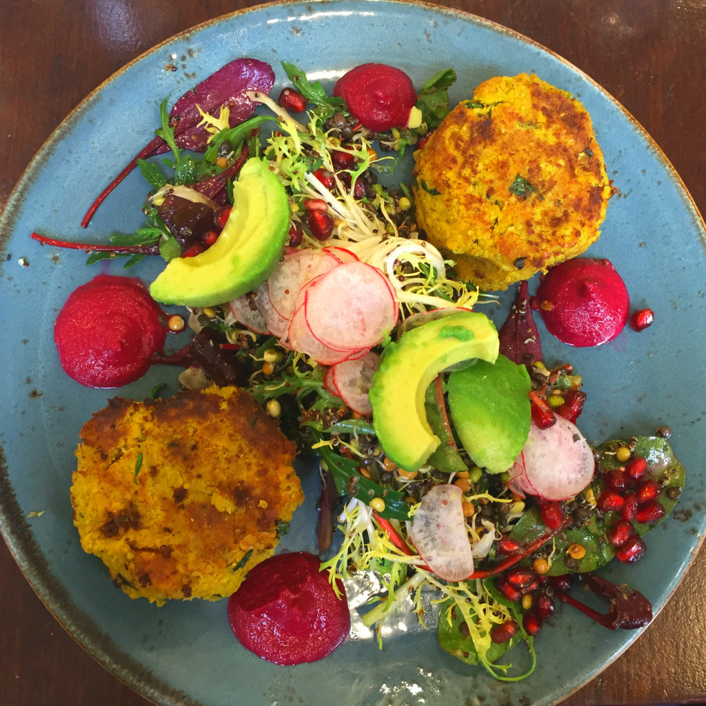Butternut squash, quinoa, and sweet potato cakes, Avoca