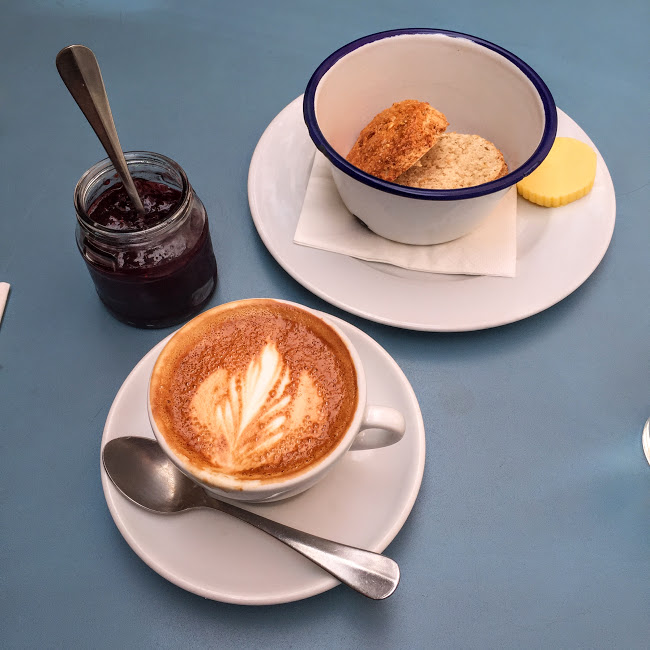 Cortado and scone, Hatch and Sons