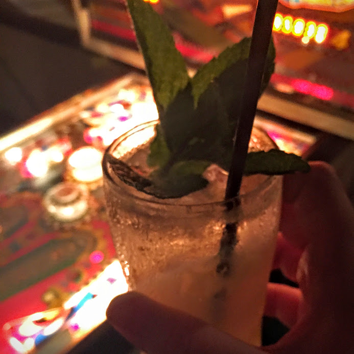 Welcome cocktail and pinball machine, Pok Pok pop-up