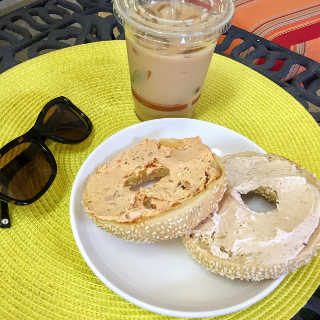 Sesame bagel and iced coconut latte, Brooklyn Brothers Bagel Company