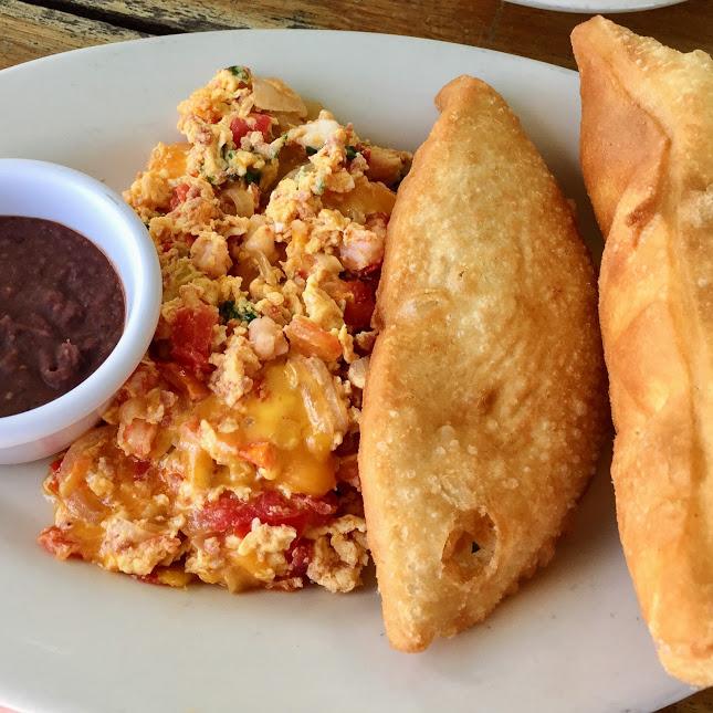 Shrimp and chorizo special eggs, Estel's Dine By the Sea