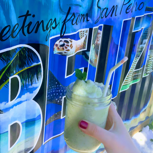 Belize mural and frozen coconut mojito, The Truck Stop
