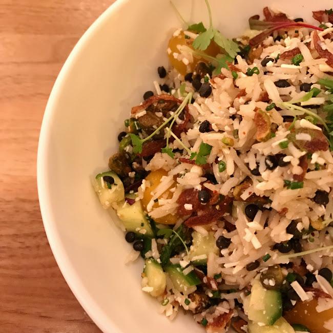 Local basmati & lentil salad, Ema