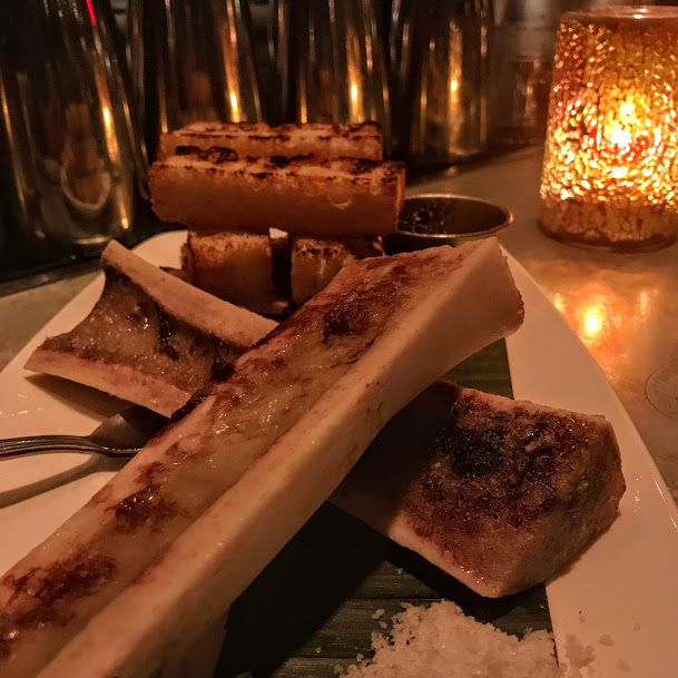 Roasted bone marrow with rioja-braised shallot marmalade, Beauty & Essex