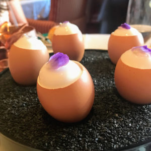 Egg amuse-bouche with lemon mousse and carrot mousse
