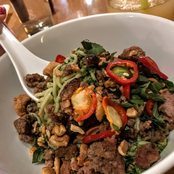 Chilled spicy noodles with Sichuan sausage, Thai basil, and candied cashew, Momofuku