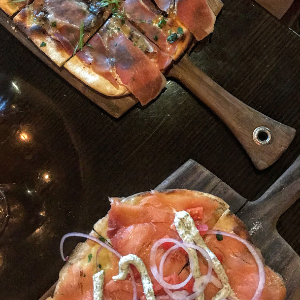 Smoked salmon and fig & prosciutto flatbreads, Todd English's Olives