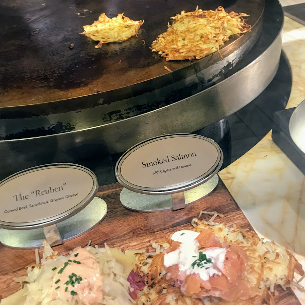 Made-to-order smoked salmon latke station, The Buffet at Wynn