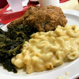 Meat-and-three with fried chicken, mac-n-cheese, and collard greens, Arnold's Country Kitchen