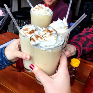 Peach cobbler shake with rum, The Roost
