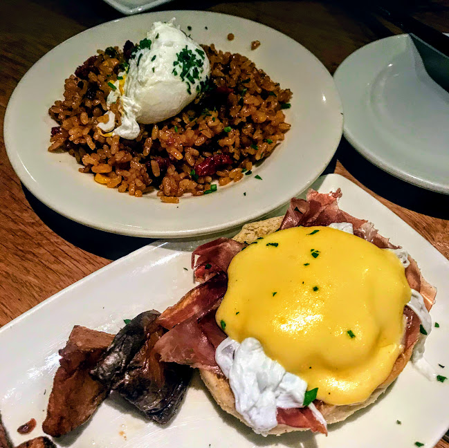 Sausage fried paella rice and jamon serrano eggs benedict, Cafe Ba-Ba-Reeba!