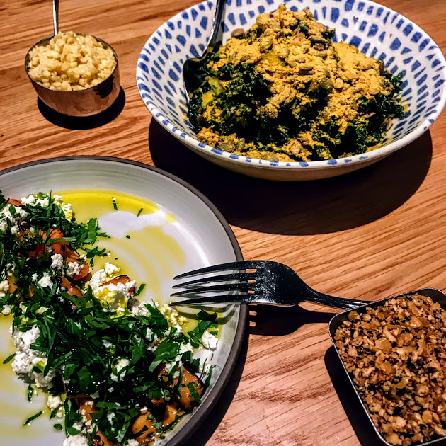 Mezze of carrots with cuminy-orange glaze, Bulgarian feta, hazelnut duqqa; kale tabouli with pepitas, delicata squash, apples, garlicky-lemony (with nutritional yeast), Galit