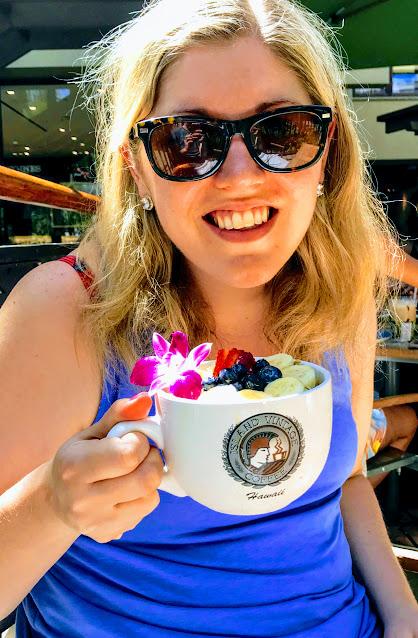 Hillary and acai bowl in Honolulu