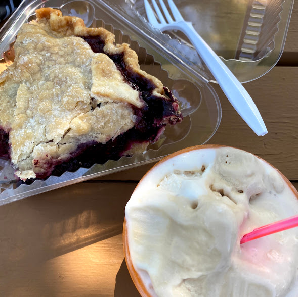 Three-berry pie, Sweetie Pies; salted caramel and roasted almond and fig gelato, Door County Creamery