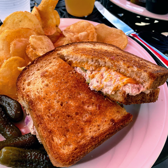 Tuna salad sandwich with Wisconsin cheddar cheese and grilled on wheat bread, Stone Harbor Restaurant