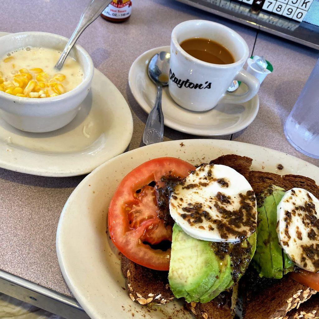 Avocado toast, creamed corn, and coffee, Clayton's Coffee Shop