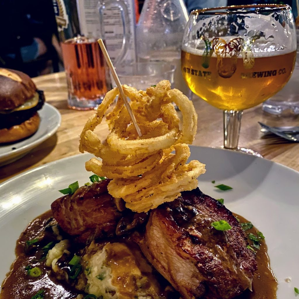 Meatloaf and Golden Dall beer, 49th State Brewing Company