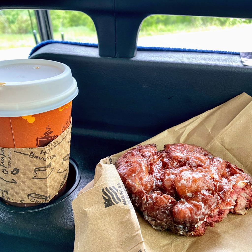 Raspberry fritter and dirty chai, Alpine Cafe and Bakery